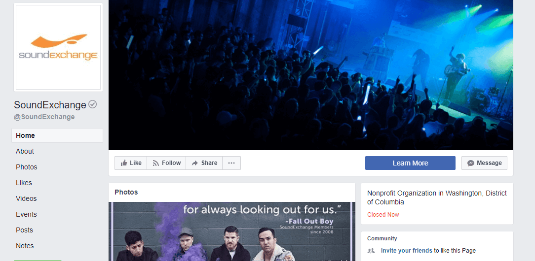 Facebook Musikseiten Beispiel